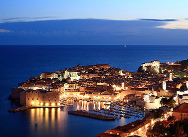 View of Dubrovnik in the evening