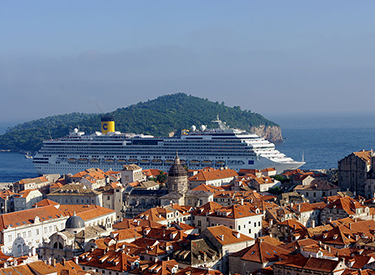 Costa ship in front of Dubrovnik